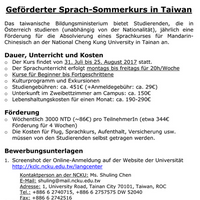 Geförderter Sprachkurs in Taiwan